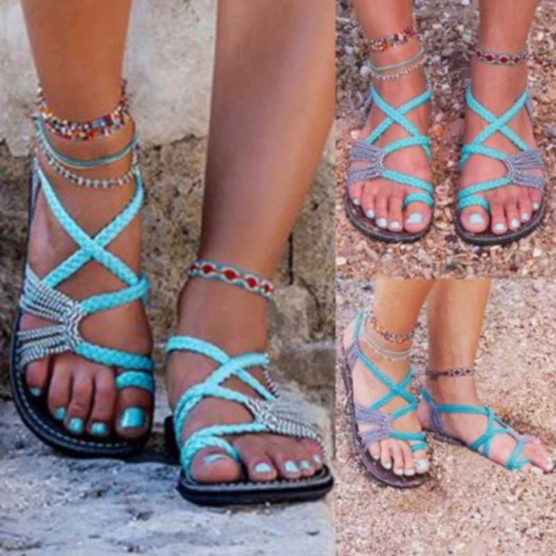 2020 Roman-Sommer-Sandelholz Explosion Color Matching Seil Knoten Strand Toe Sandalen Women Plus Size 35-43