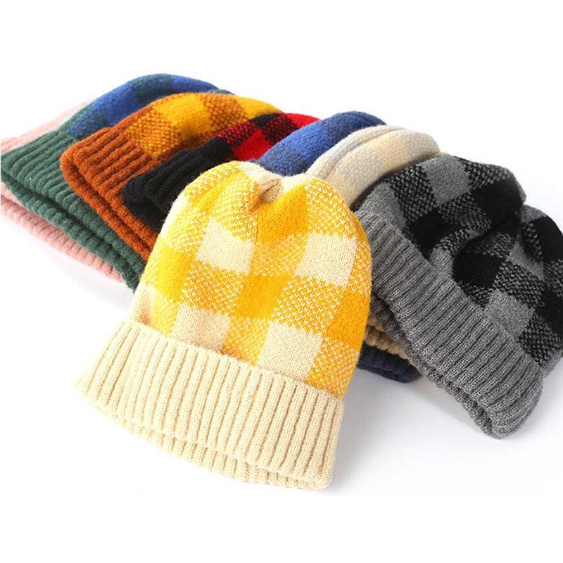 2020 Women Plaid Beanie Winter Warm Knitted Hats Unisex Sport Cap Wool Ski outdoor Knit Crochet Skull Hat Bonnet Parent-Child Caps M205F