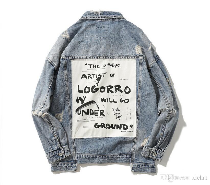 Hip Hop Patchwork Ripped Denim Chaquetas para hombre Diseñador Casual Pantalones vaqueros desgastados Chaqueta Abrigo Streetwear Moda Hombre Tops 14d41