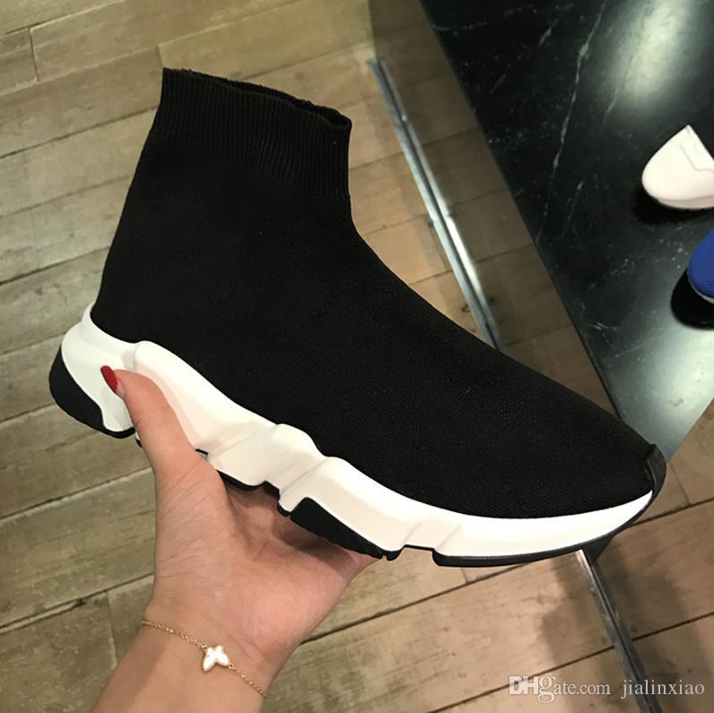 Nuova tendenza lana velocità Knit Trainer Sneakers Nero Bianco fondali scarpe delle donne degli uomini superiore piana di modo del calzino di avvio