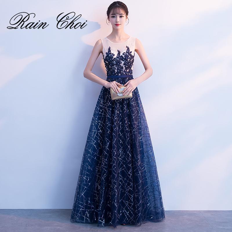 Uzun Balo Elbise 2019 O Boyun Bir Çizgi Örgün Akşam Parti Elbiseler Vestido De Festa Balo Abiye