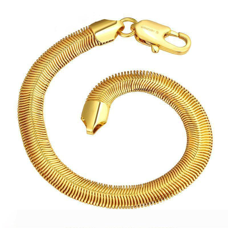 سوار سحر النساء الرجال الأوروبي الذهب للرجال النساء شخصية إنفينيتي رقيقة أساور الذهب الأصفر 18K سوار الذهب