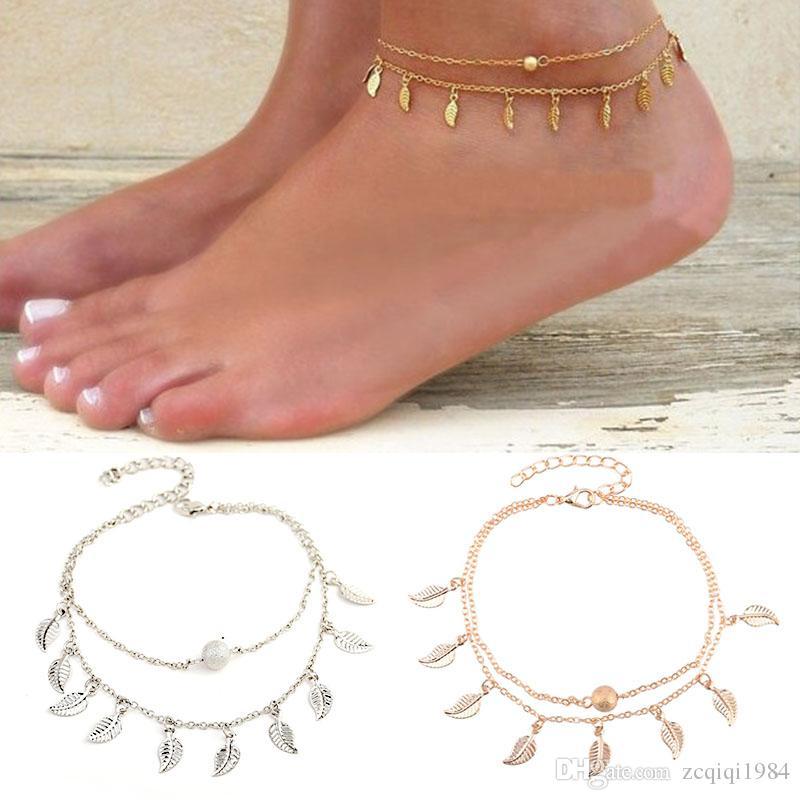 أوراق صغيرة خلخال رائعة الصيف المرأة شرابة ورقة خلخال بسيطة طبقة مزدوجة الخلخال سلسلة مجوهرات الشاطئ أنيقة