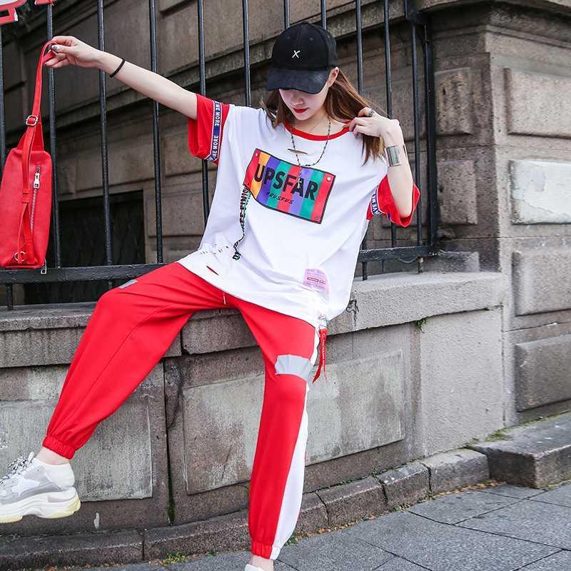 Tuta per le donne vestiti cinesi sport casuale del vestito 2020 estate nuovo studente sciolto in linea rosso vestito a due pezzi pantaloni della tuta bianca