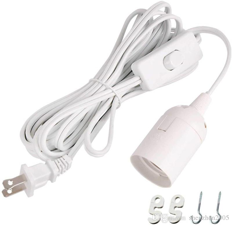 Longa Lanterna Pendant Lâmpada Luz cordão 12 Feets cabo de extensão com interruptor on / off ou Switch Gear para E26 / E27 Base de lâmpadas