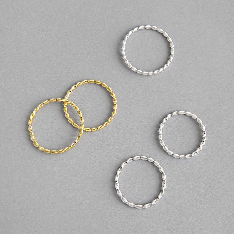 جديد 100٪ 925 فضة خواتم تويست للنساء الذهب الأبيض / 18K لون الذهب البنصر مجوهرات غرامة بسيطة