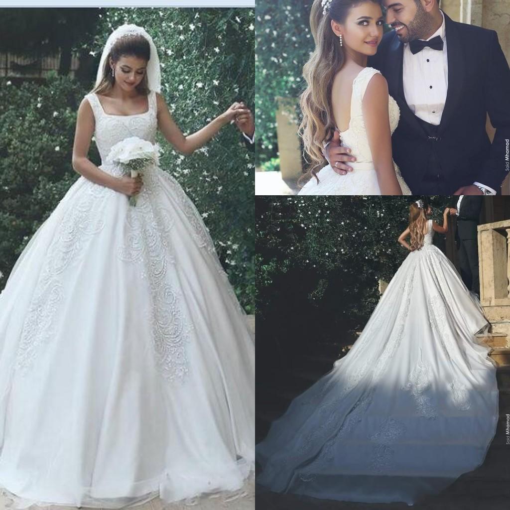 2017 Arábia Saudita vestido de baile vestidos de casamento Praça Neck Lace apliques de cristal frisado Plus Size trem Capela traseira aberta vestidos de noiva formais