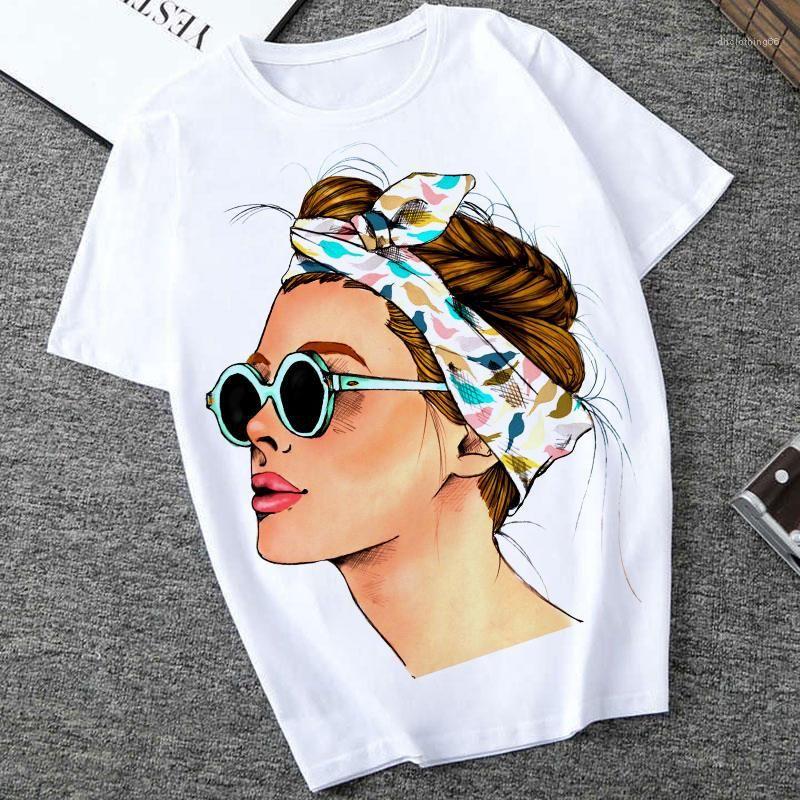 Verão Vogue Impresso Lady Casual Camiseta Tops O Sleeve Harajuku Streetwear pescoço curto cobre T das mulheres Casual Vestuário Plus Size Womens