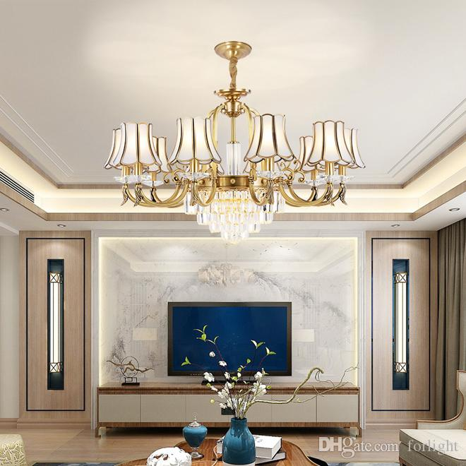 odada yatak odası yemek odası oturma lüks kolye lamba kristal avize ışıkları aydınlatma Yeni tasarım high-end bakır kristal avizeler