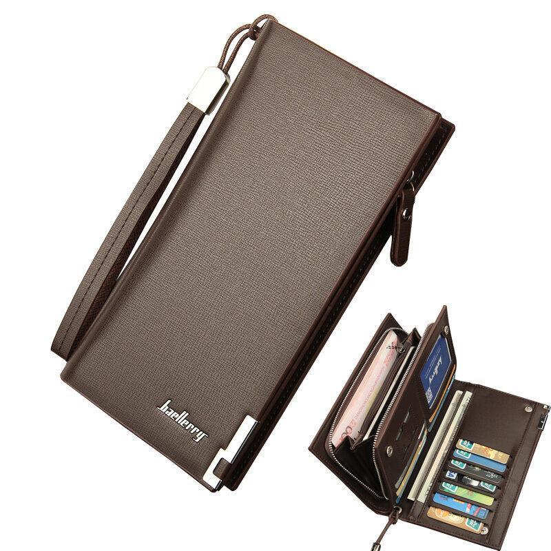 Мужской кожаный бумажник двойной держатель удостоверения личности кошелек чековая книжка длинный клатч довольно
