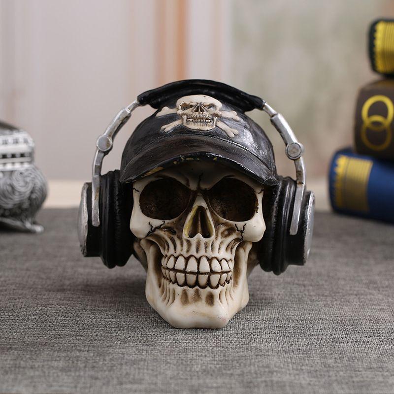 MRZOOT Resin Craft Statues For Decoration Skull Wearing Headphones Music Bar Decoration Creative Skull T200619