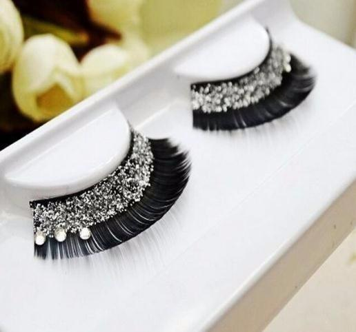1pair Natural Long Thick Up Diamond False Eyelashes Charming Fake Eye Lashes Cosmetic Makeup Tools For Women Party Stage