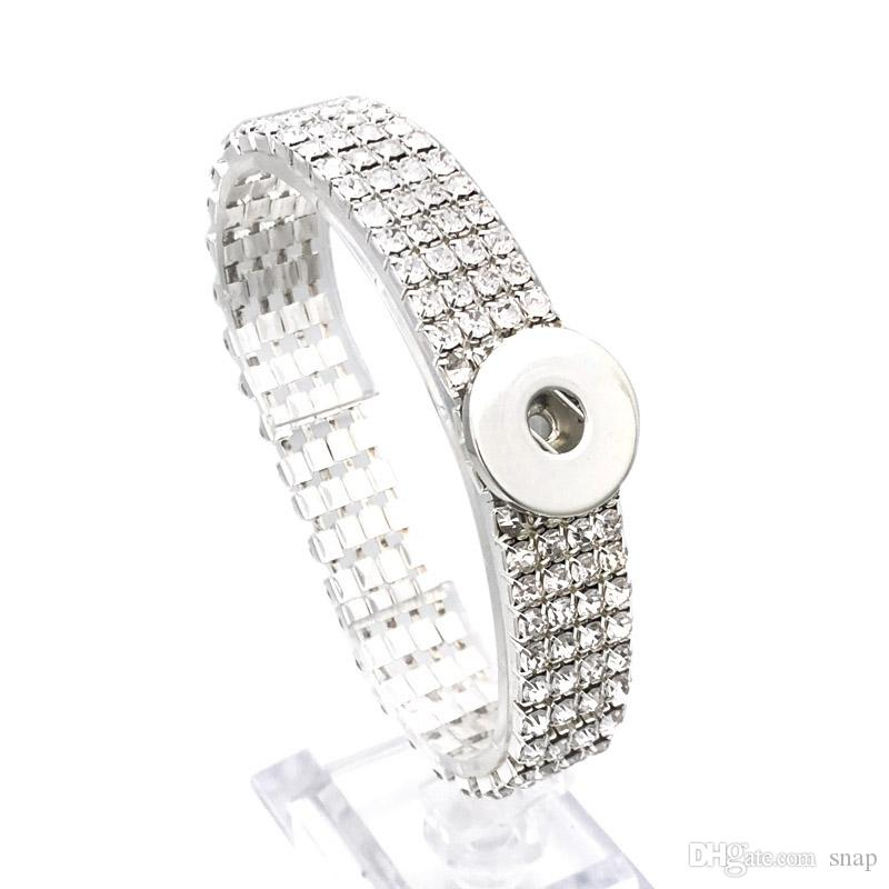 Fashion Full Of Crystal Bridal Bangle 116 Interchangeable Elastic Bracelet 18mm Snap Button Bangle Charm Jewelry For Women Gift