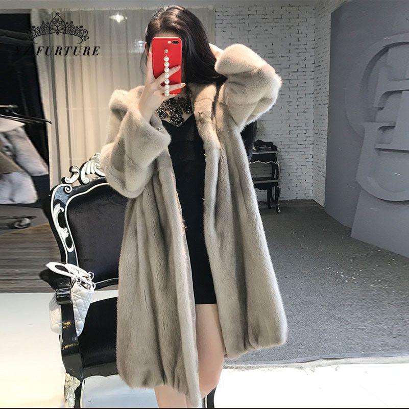 Lady Furture Winter Long Coat for Women Loose style Nature Jacket With Hood Luxury Warm Oversize Female Coat