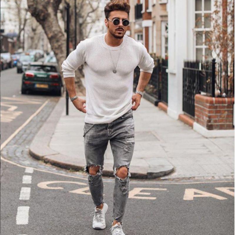 الدينيم الأزرق ممزق مصمم جينز رجالي الملابس رايات سليم صالح ثقوب سستة سروال رصاص هومبيس pantalones للرجال 2021