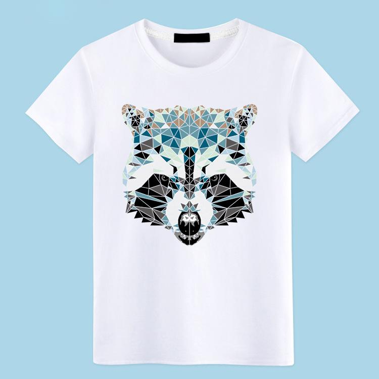 Animal Print Wolf Head Print Tshirts Mens Summer Short Sleeve Crew Neck T-Shirts Cotton Blend Soft Tees Tops Plus Size S-5XL