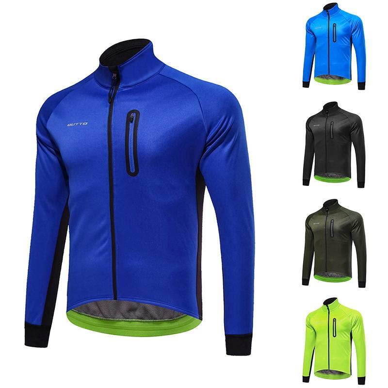 Nuovo Inverno Ciclismo caldo chiusura lampo del rivestimento della bicicletta MTB della bici della strada abbigliamento impermeabile antivento Climbing cappotto manica lunga Jersey
