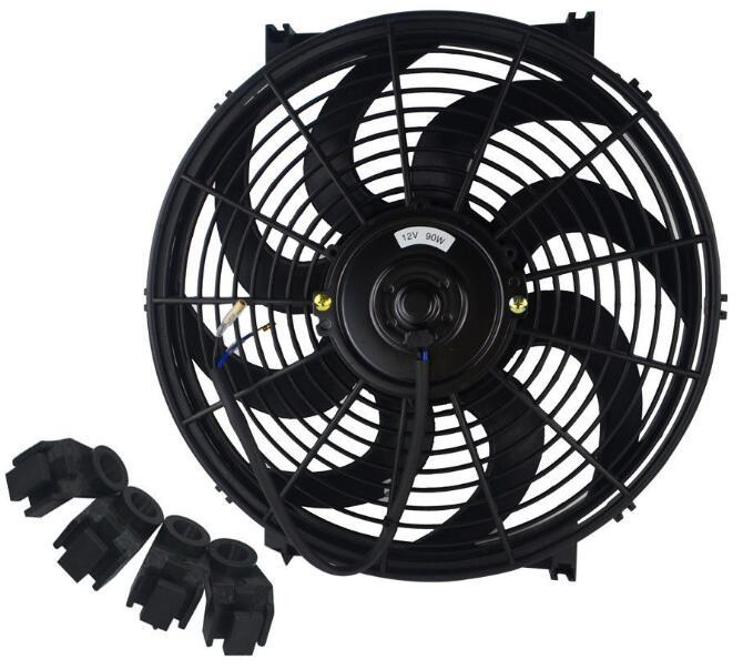 Universal Kit Black 14 inch Slim Fan Push Pull Electric Radiator Cooling 12V
