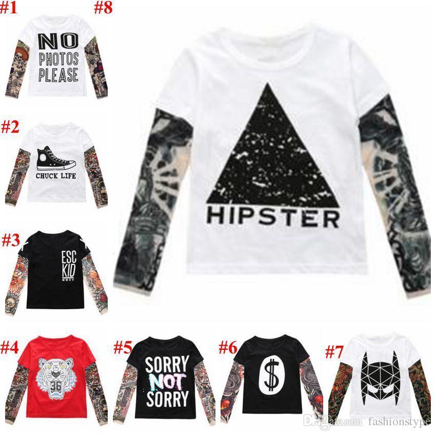 Baby Clothes Boys Hip Hop Tattoo T-shirts Baby Ins Long Sleeve Tops Fashion Printed Tees Cotton Sashimi Shirt Casual Streetwear Tees