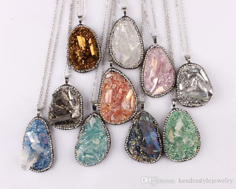 Pave Crystals Border Solar Quartz Pendant Necklace Collana Raw Original Quartz Necklace Crystal Necklace Real Gemstones Pendant