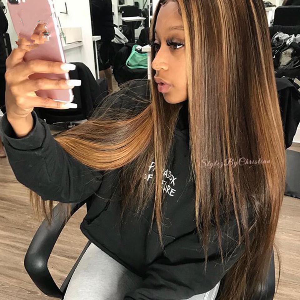 Las pelucas de pelo humano frente de encaje recto Resalte Honey Blonde 360 de encaje frontal de la peluca Pre desplumados brasileña Remy para las mujeres 150%