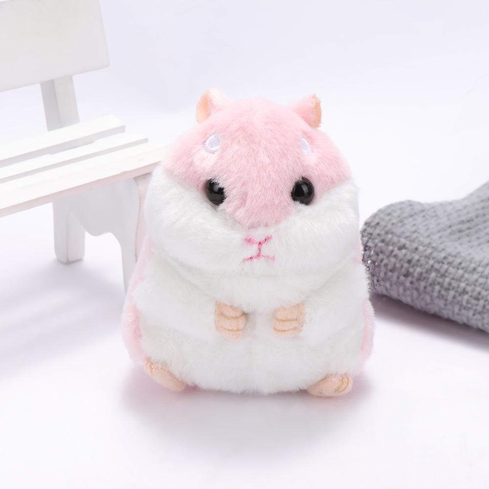 10cm Mini Hamster juguetes de peluche de Kawaii de los animales rellenos de imitación de piel de conejo Fluffy hámster colgante de la muñeca por muchacha de los niños del regalo de cumpleaños