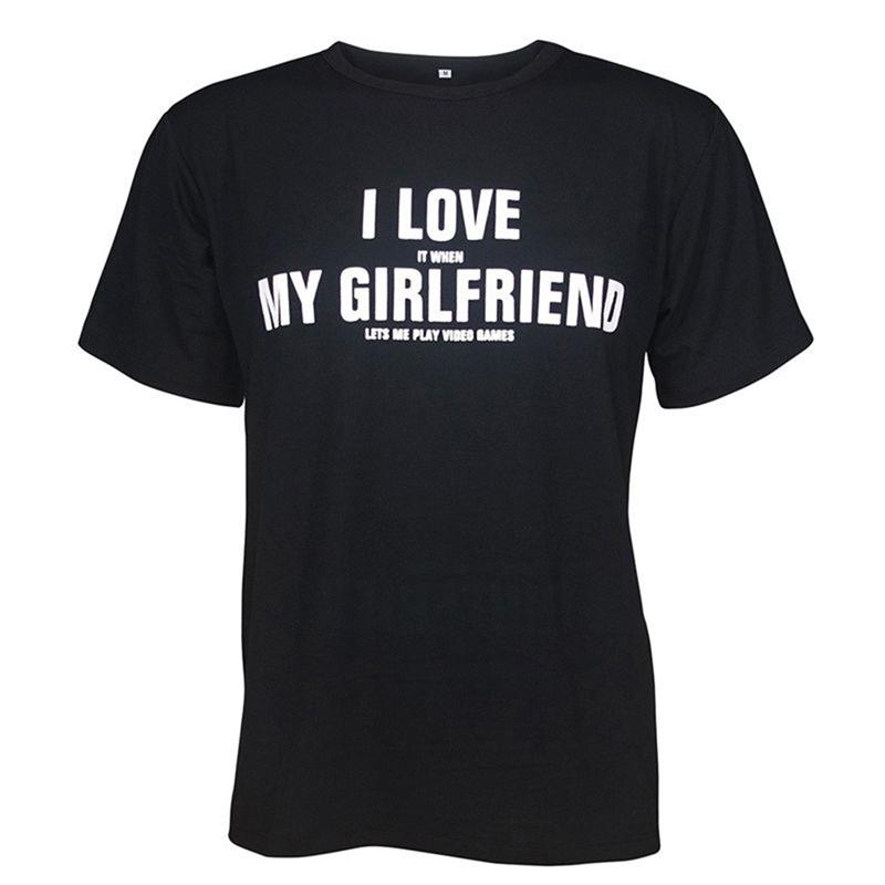 I Love My Girlfriend Lettere Stampa T Shirt Uomo Casual Divertente Magliette Per Uomo Top Tee Hipster Drop Ship Plus Size Xxxl