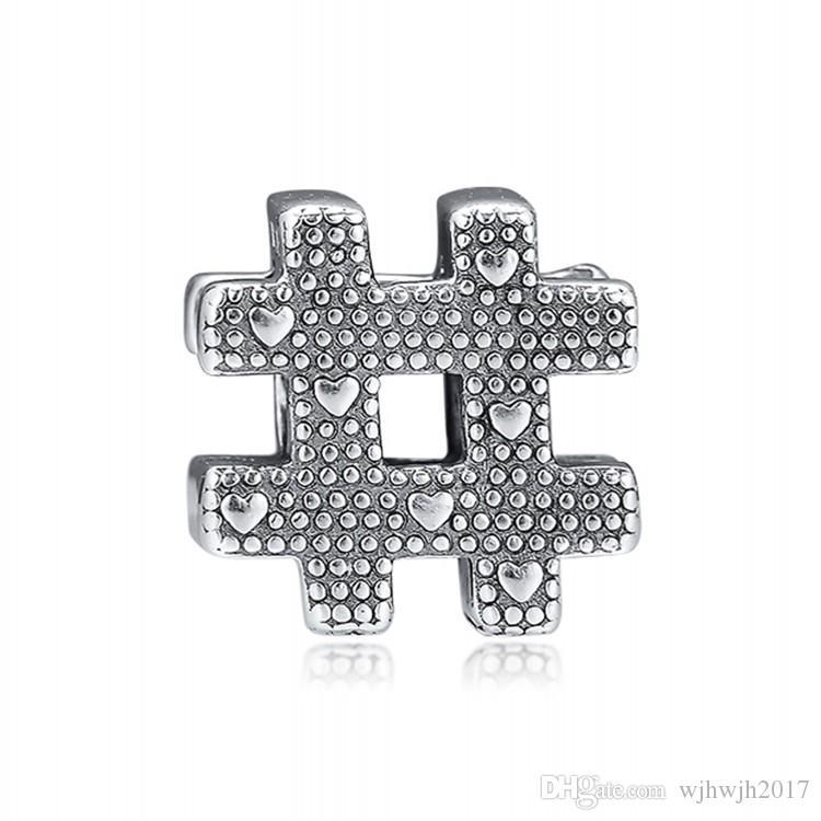 Otantik 925 Gümüş Boncuk Hashtag Sembol Ile Kalp Charm Fit Orijinal Kadınlar Pandora Bileklik Bileklik Hediye DIY Takı Yapımı