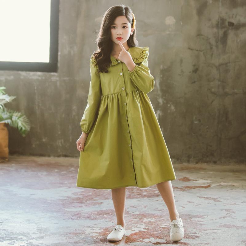 Vestidos de los niños para la primavera chica otoño verde del bebé de la princesa vestido de ropa de los niños del niño vestido de la muchacha del algodón 4 6 8 10 12 14 años
