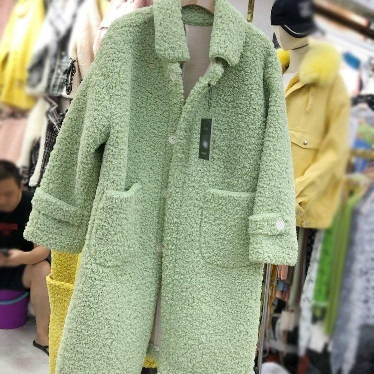 Peiqilp Kadın Plus Size modası Kış Sahte Sheepskin Kürk Kaşmir Örtü Yeni Koreli Gevşek Yün Uzun Coat Kadın Ceket PQLP05