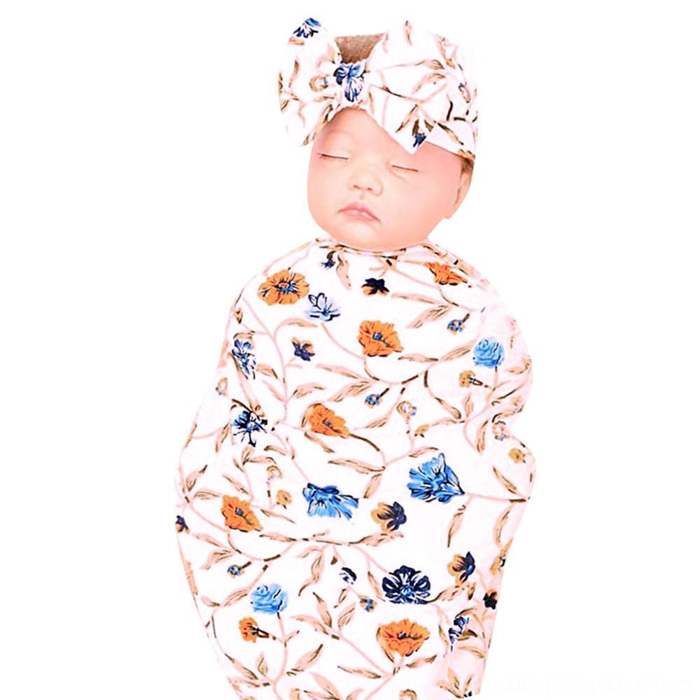 LONSANT toallas batas de baño infantil Ducha del bebé del saco de dormir recién nacido de la impresión floral de empañar la primavera manta cómoda diaria 2pcs dormir WrapHead