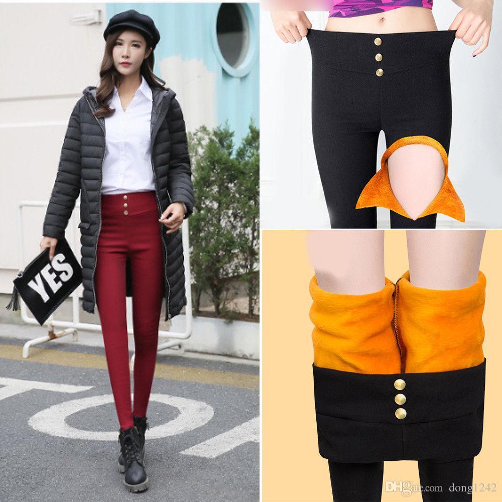 Pantalon skinny legging chaud d'hiver en laine polaire chaude et chaude