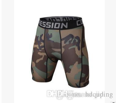 Pantaloncini mimetici per allenamento fitness da uomo all'ingrosso 2017 Pantaloni da allenamento compressi da ginnastica traspiranti per il sudore rapido e asciutto
