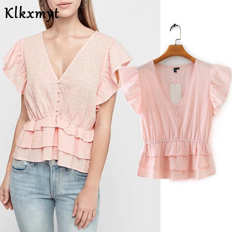 Klkxmyt england Stil einfache feste V-Ausschnitt Rüsche za Bluse Frauen blusas mujer de moda 2020 kurze Hemd Frauen Tops und Bluse
