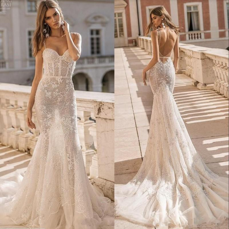 Mermaid Wedding Dresses 2020 Spaghetti Sequined Beading Sexy Backless Illusion Beach Wedding Dress Appliques Lace Bridal Gowns