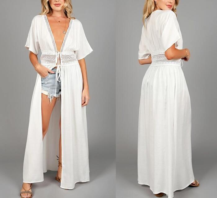 2020 Seksi Kapak-Us Mayo Hollow Çıkış Ön Açık Yaz Plaj Elbise Robe Artı boyutu Kadınlar Beachwear Beyaz Pamuk Tunik Mayo Kapak Up