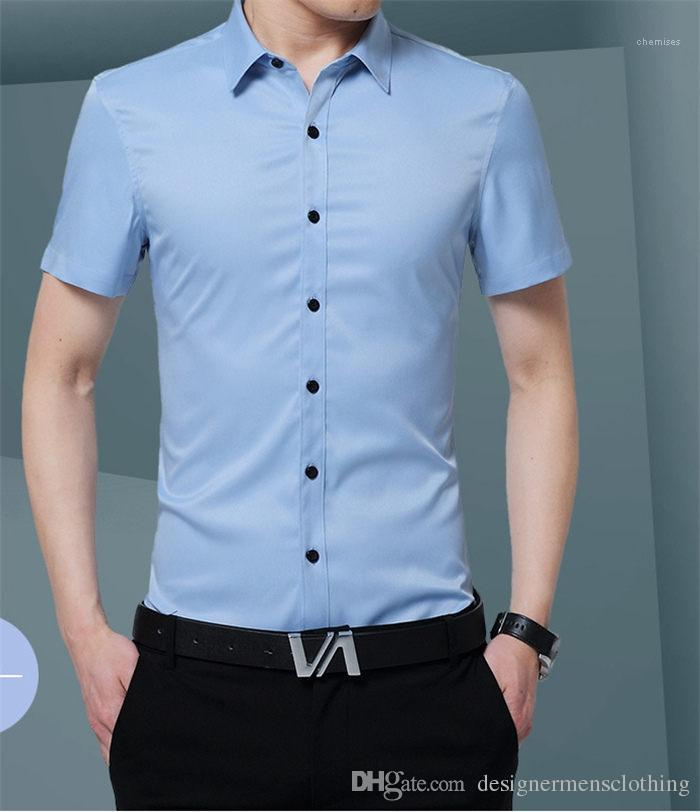 Sleeve Shirts Young Fashion New Male Clothing Solid Mens Dress Shirts Turn Down Collar Mens Short