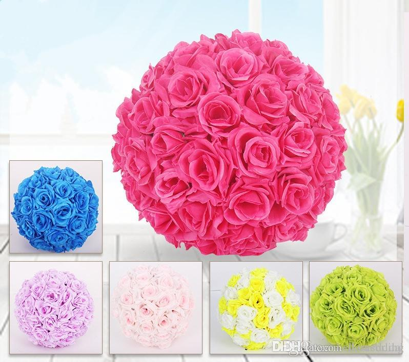 15cm Rose Kissing Balls For Wedding Silk Flower Ball Decorative Artificial Flowers Multi Color Options Pomander Balls KB-001