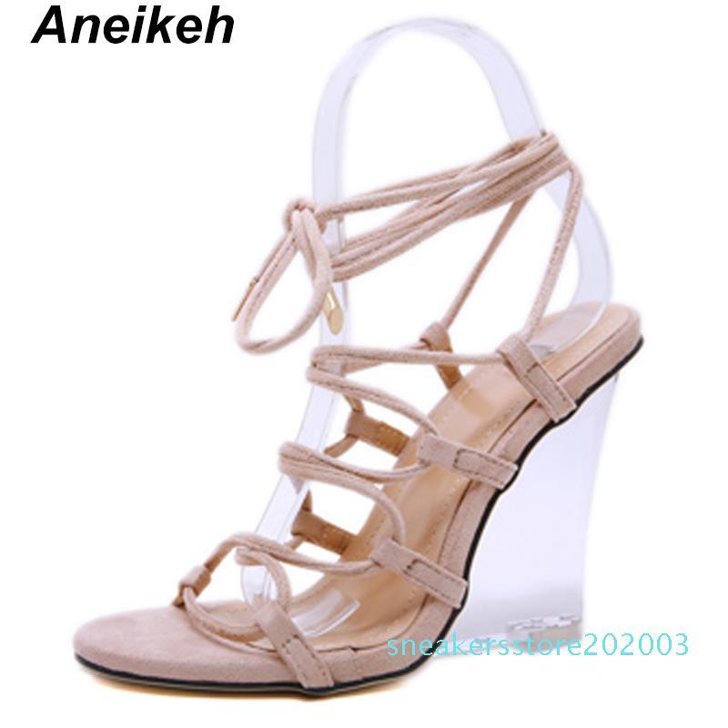 Aneikeh 2019 talón transparente Cuñas Cruz de la correa de la hebilla del tobillo Sandalias Zapatos de mujer pío de los altos talones del partido del verano sandalias Bombas s03