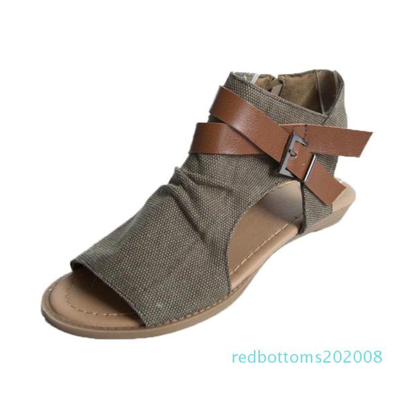 2020 femmes Spartiates Peep Toe Buckle sandales romaines design Zipper femmes Chaussures plates Summer Beach Ladies Chaussures New 08R