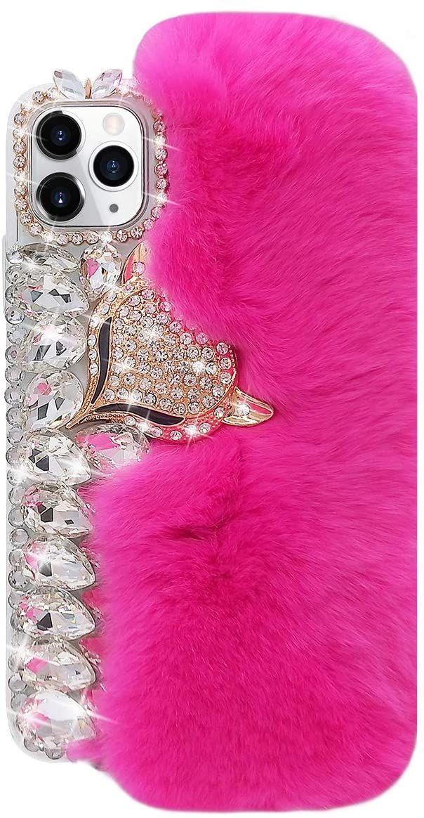for iphone 12 Warm Rabbit Hair Diamond Gemstone 3D Fox Head Soft TPU Case for iphone 6 7 8plus x Xr Xs Max 11 11 Pro Max