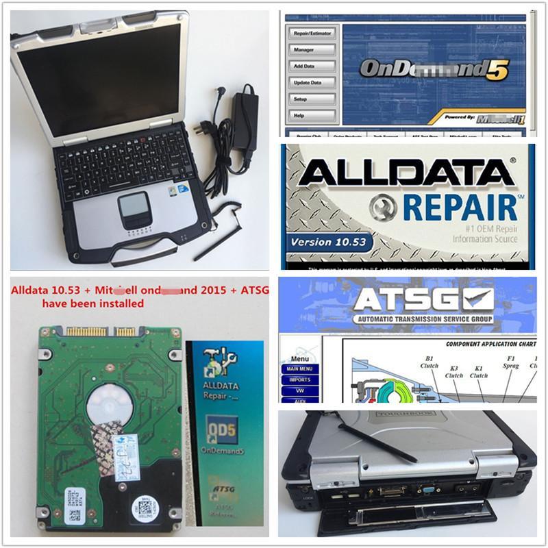 universal car truck Auto Repair Soft-ware Alldata V10.53 + Mitch*ll 2015 + ATSG in 1TB HDD in CF30 used Laptop CF-30 4GB ram