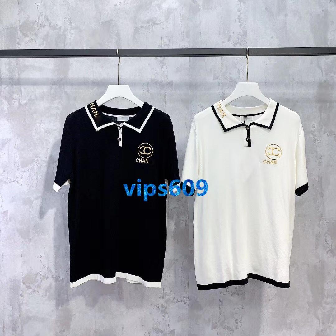 üst uç kadın kız örgü tişört yaka boyun mektup 2020 moda tasarım lüks pullove bluz kısa kollu tişört gömlek yazdırmak nakış başında