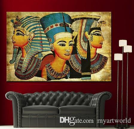 Incorniciato di alta qualità dipinto a mano antico papiro egiziano decor fine home wall art colorato ritratto pittura a olio su tela di varie dimensioni P139