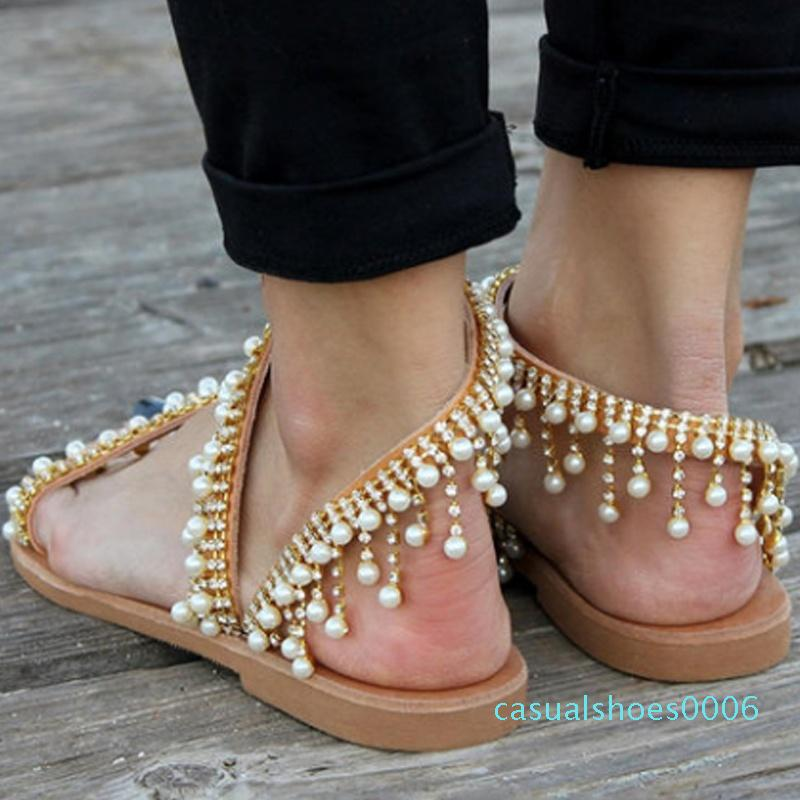 Hot Sale-Buzzyfuzzy mulheres Couro Beading Plano Sandals Mulheres Bohimia Praia Sandals Shoes c06