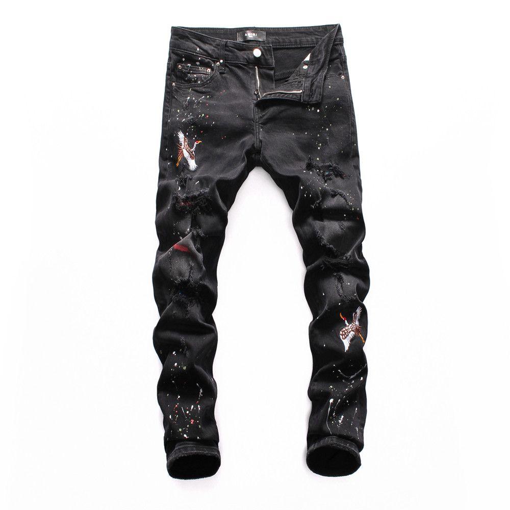2020 В настоящее время мужские джинсы дизайнер Проблемные молния Hole Мужские джинсы высокого качества вскользь Жан мужские узкие джинсы боятся бога