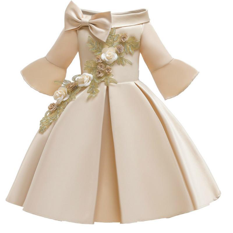 Vestidos crianças for Wedding Party Meninas Meninas de flor Vestidos Roupa das Crianças Off ombro mangas princesa vestido bordado