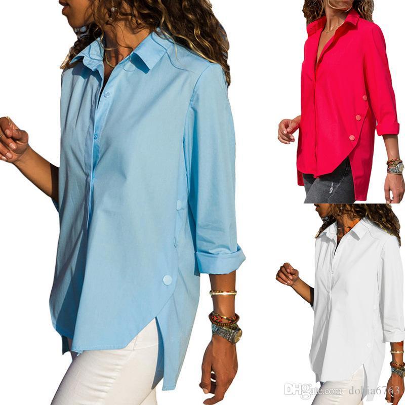 Avrupa ve Amerikan kadın T-SHIRT Bahar ve yaz patlamalar Casual Düz renk ön ve arka düzensiz uzun kollu şifon gömlek si