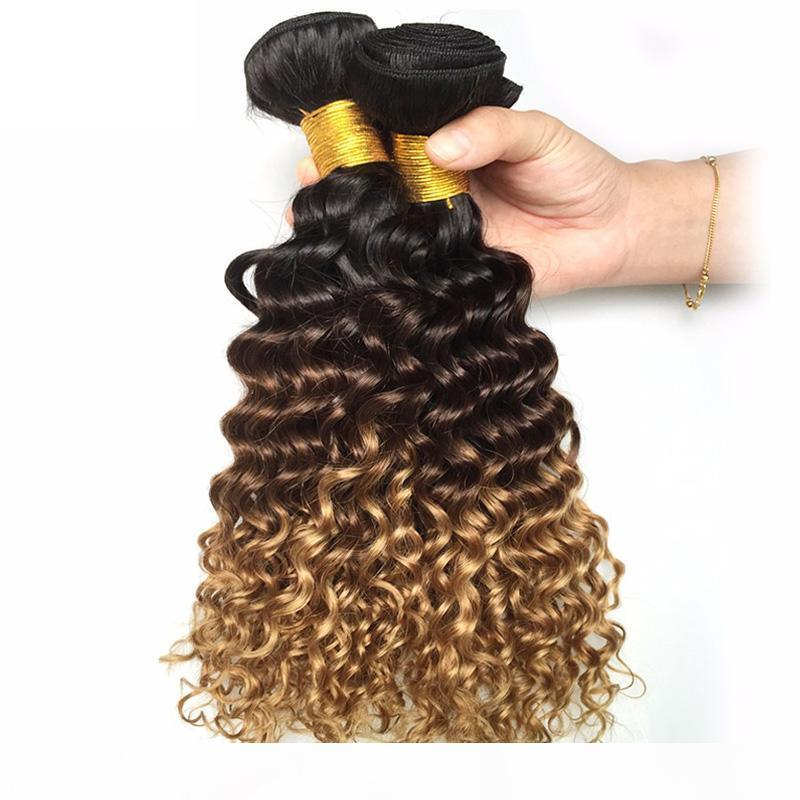 Malaysian Ombre Dark Brown Blonde Deep Wave Human Hair 3 4 Bundles Colored 1B 4 27# Curly Virgin Human Hair Weave Extensions