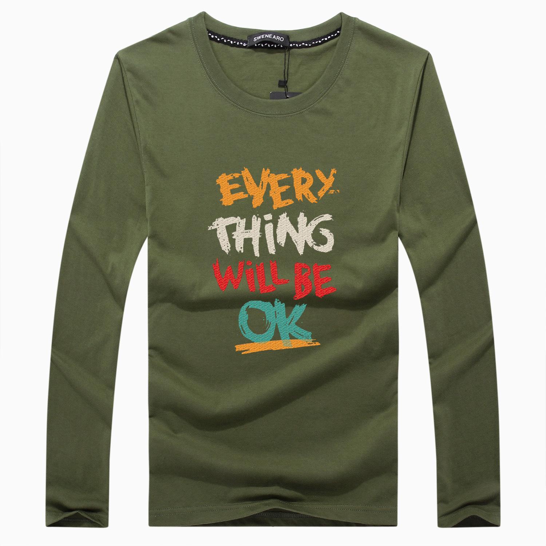 Reine Baumwolle Lange Ärmel Hip Hop Herren T-shirt T-shirt Oansatz Herbst Und Winter Persönlichkeit Mode Männer Große T-shir